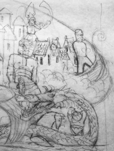 A detail from the design for our Norse Cosmos poster