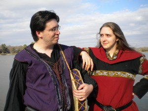 The singers who play the roles of Snorri Sturlson (left) and Loki (right)